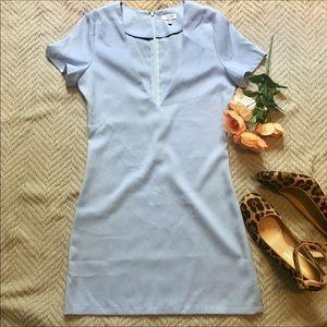 Deep V Short Sleeve Sheath Mini Dress.